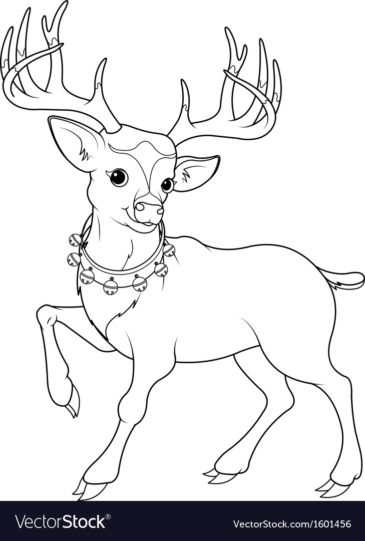 Reindeer rudolf coloring page vector | Price: 1 Credit (USD $1)