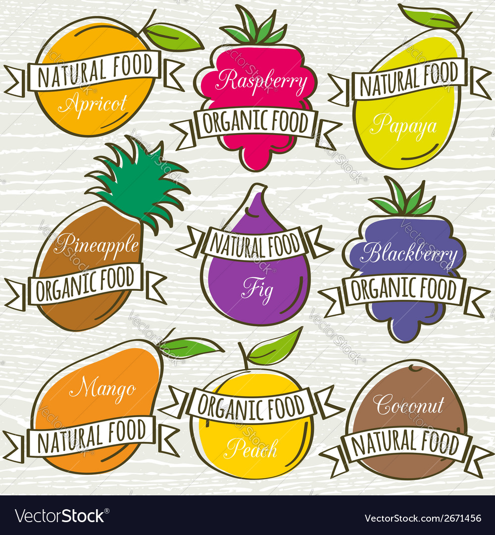 Set of organic fruit vector | Price: 1 Credit (USD $1)