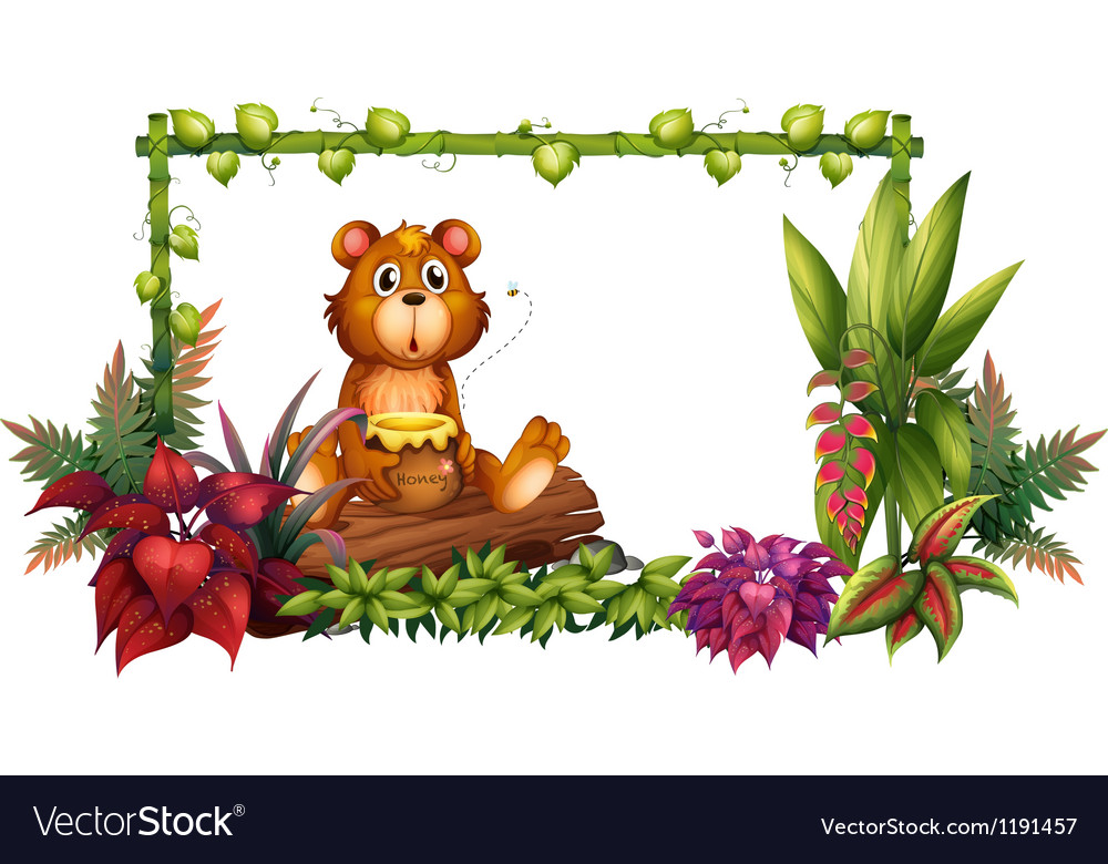 A bear above a trunk in the garden vector | Price: 1 Credit (USD $1)