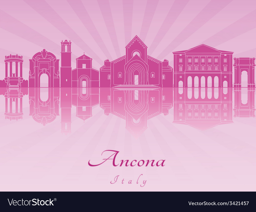 Ancona skyline in purple radiant orchid vector | Price: 1 Credit (USD $1)