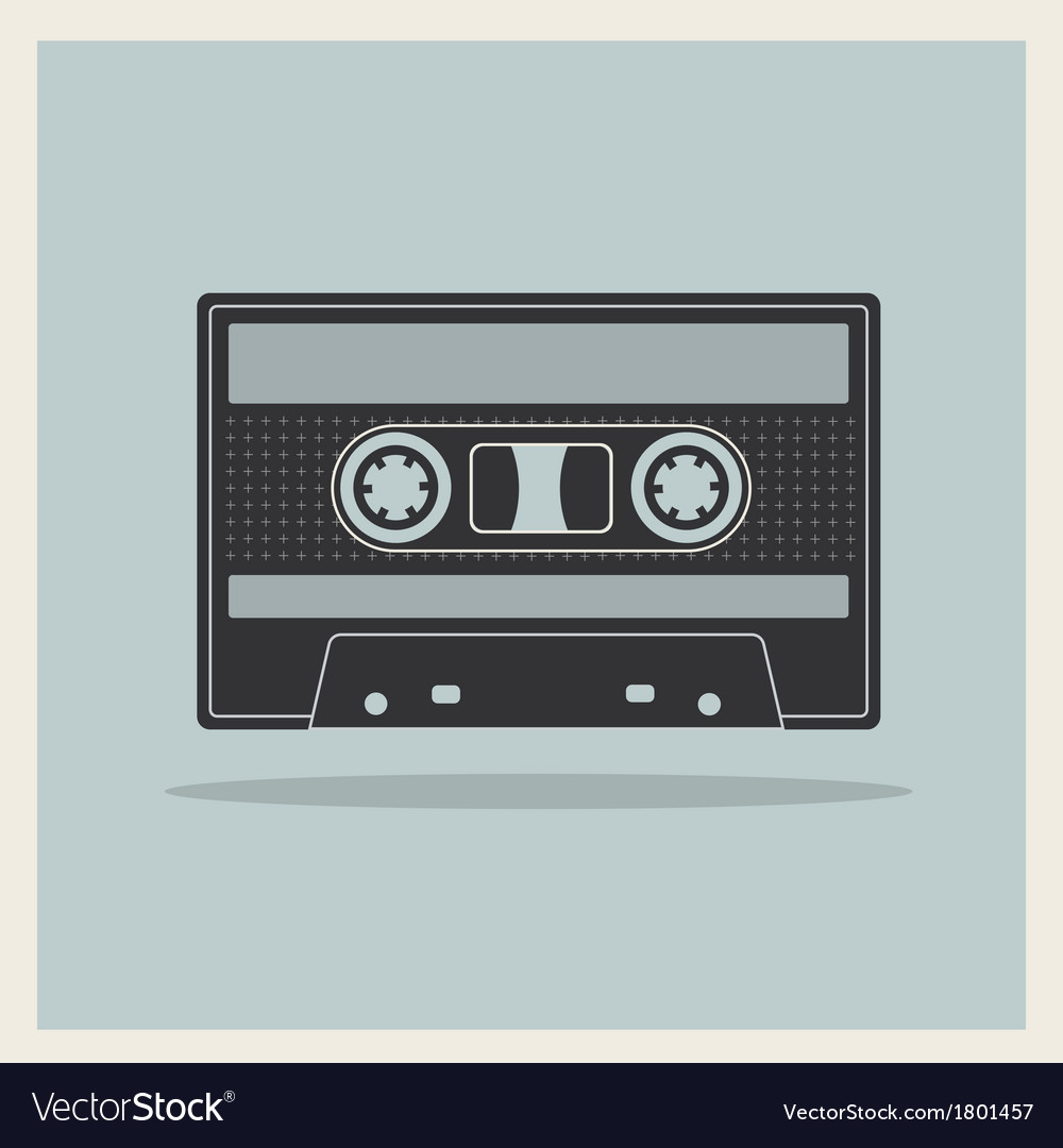 Audio compact cassette tape on retro background vector | Price: 1 Credit (USD $1)
