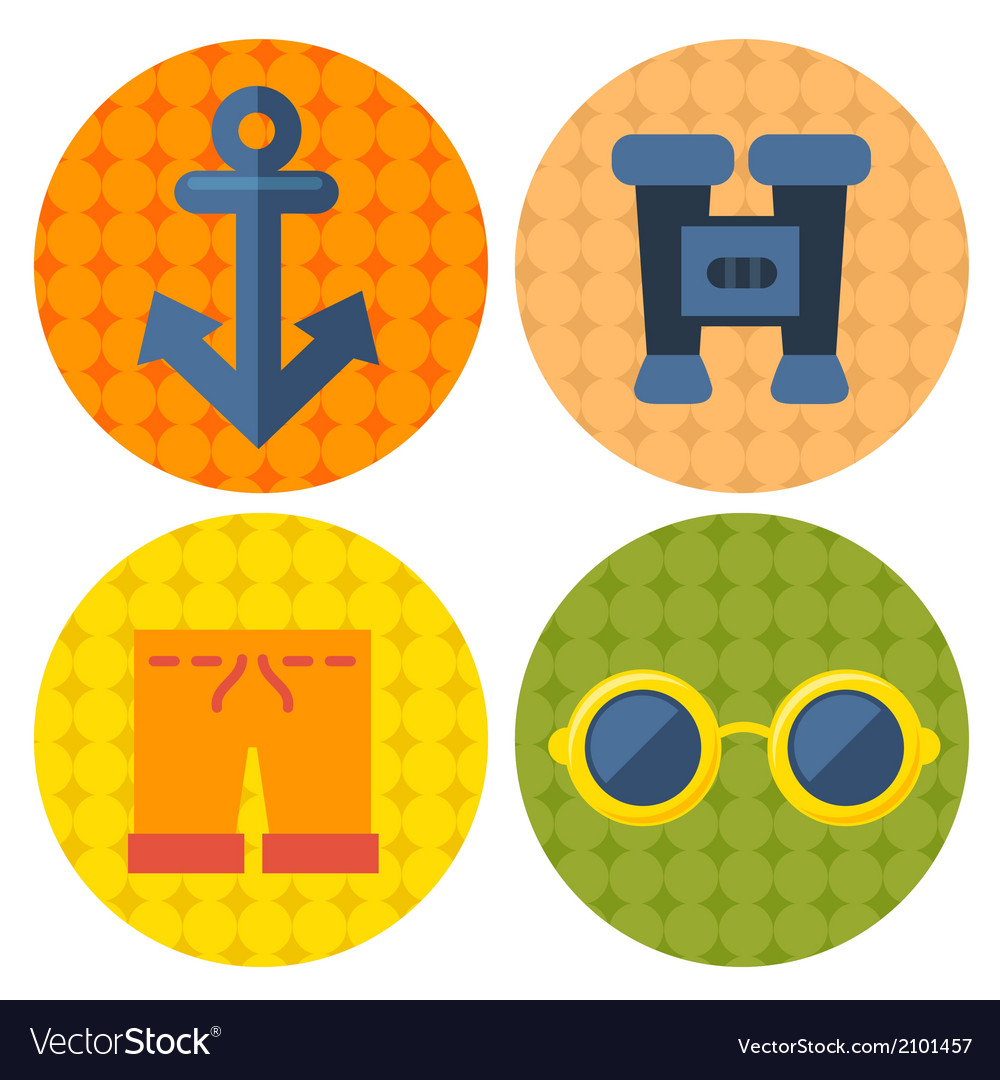 Beach items icons in flat design vector | Price: 1 Credit (USD $1)