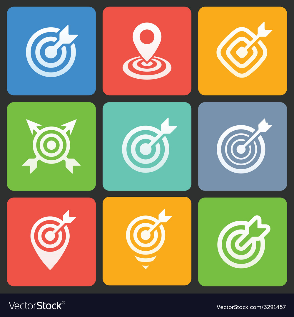 Colorful target icons for web and mobile vector | Price: 1 Credit (USD $1)