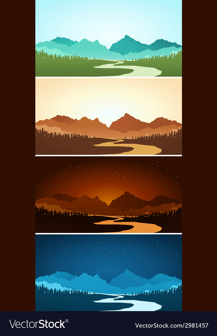 Mountain scenery in various color vector | Price: 1 Credit (USD $1)