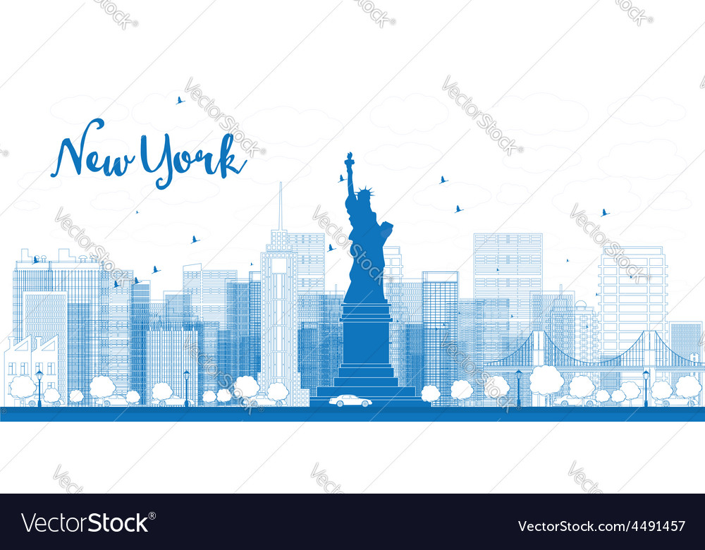 Outline new york city skyline with skyscrapers vector | Price: 1 Credit (USD $1)