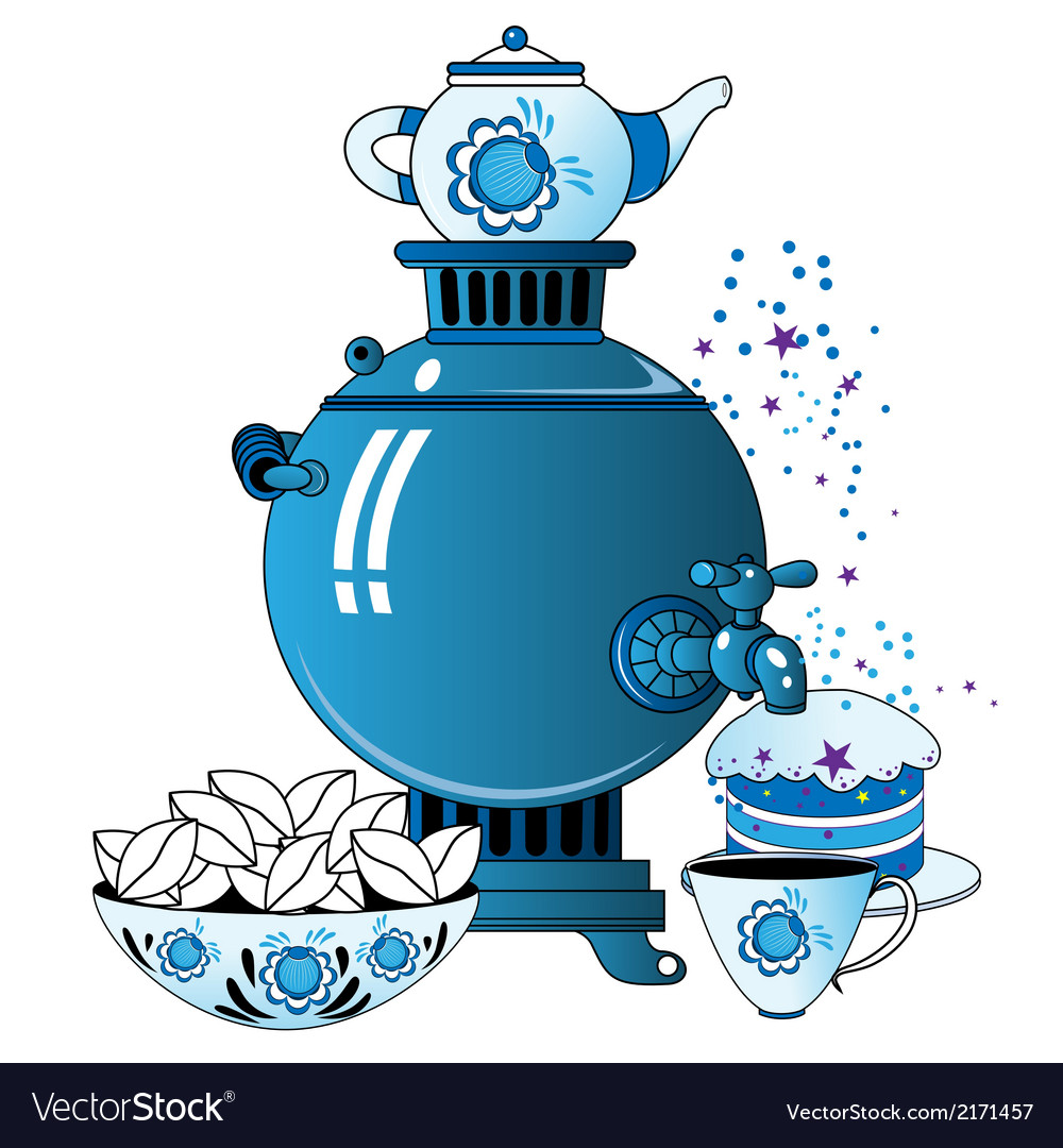 Samovar with tea cup cake vector | Price: 1 Credit (USD $1)