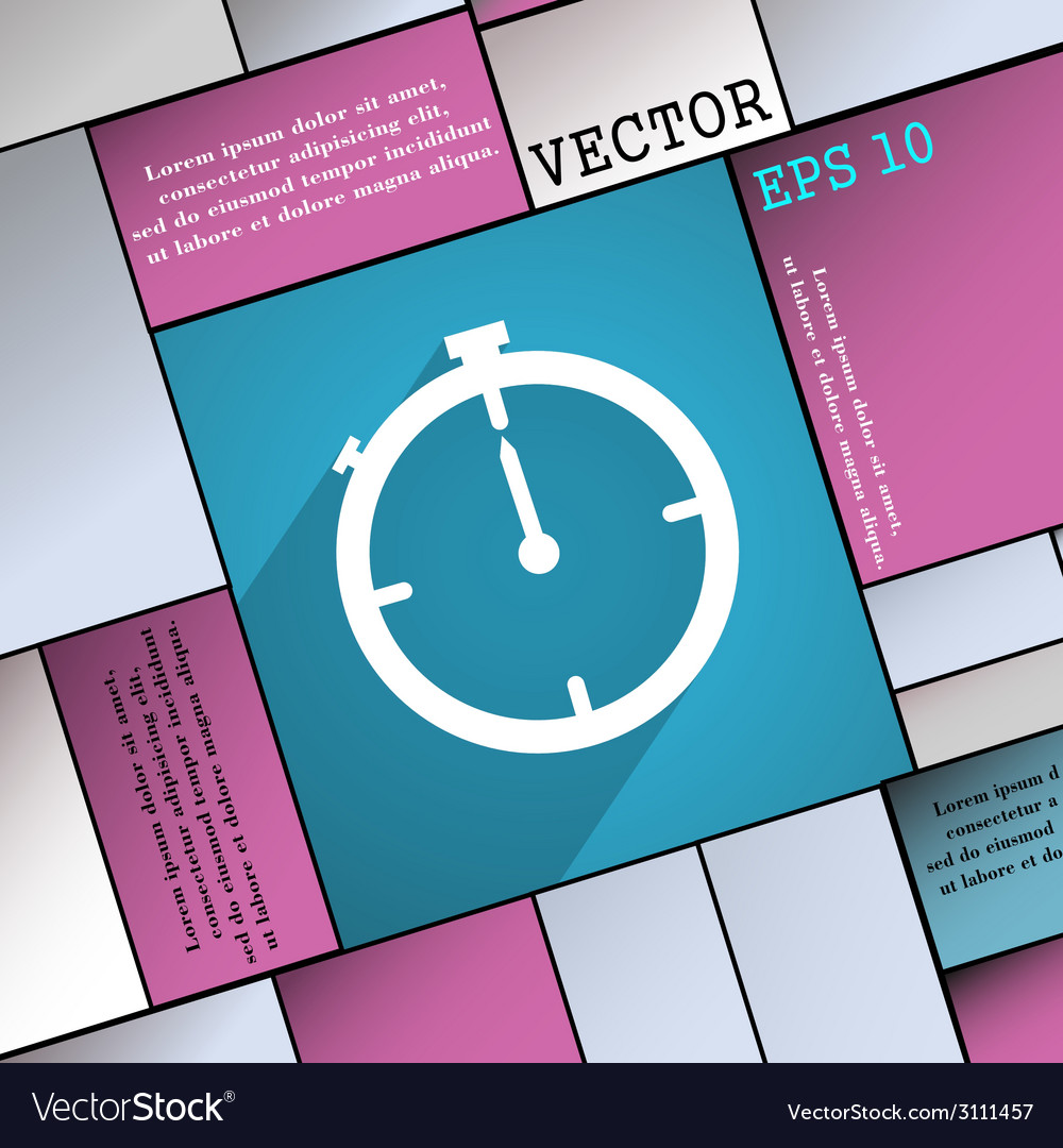 Timer icon symbol flat modern web design with long vector | Price: 1 Credit (USD $1)
