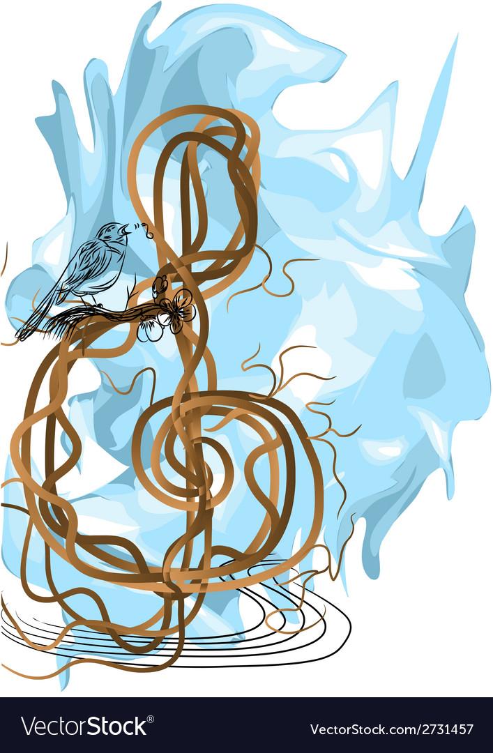 Treble clef and bird vector | Price: 1 Credit (USD $1)