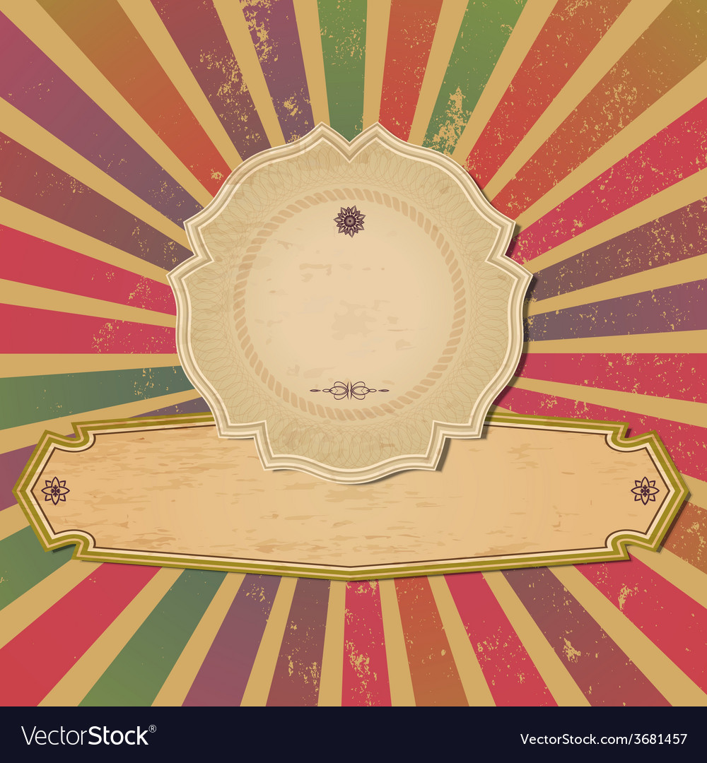 Vintage old template with sunbeams vector | Price: 1 Credit (USD $1)