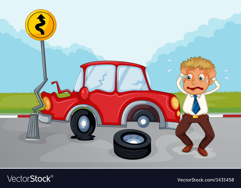 A worried man beside his damaged car vector | Price: 1 Credit (USD $1)