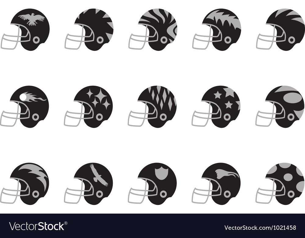 Black football helmet set vector | Price: 1 Credit (USD $1)