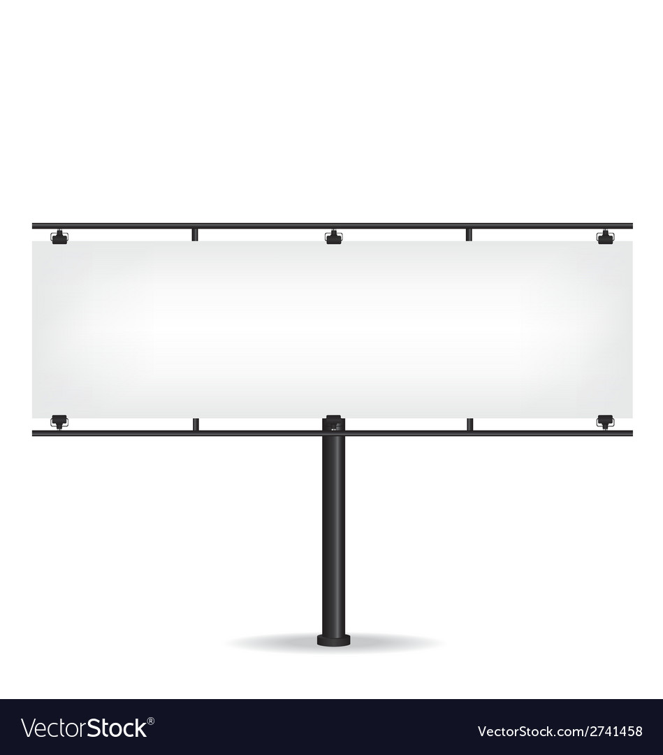 Blank black billboard on white background vector | Price: 1 Credit (USD $1)