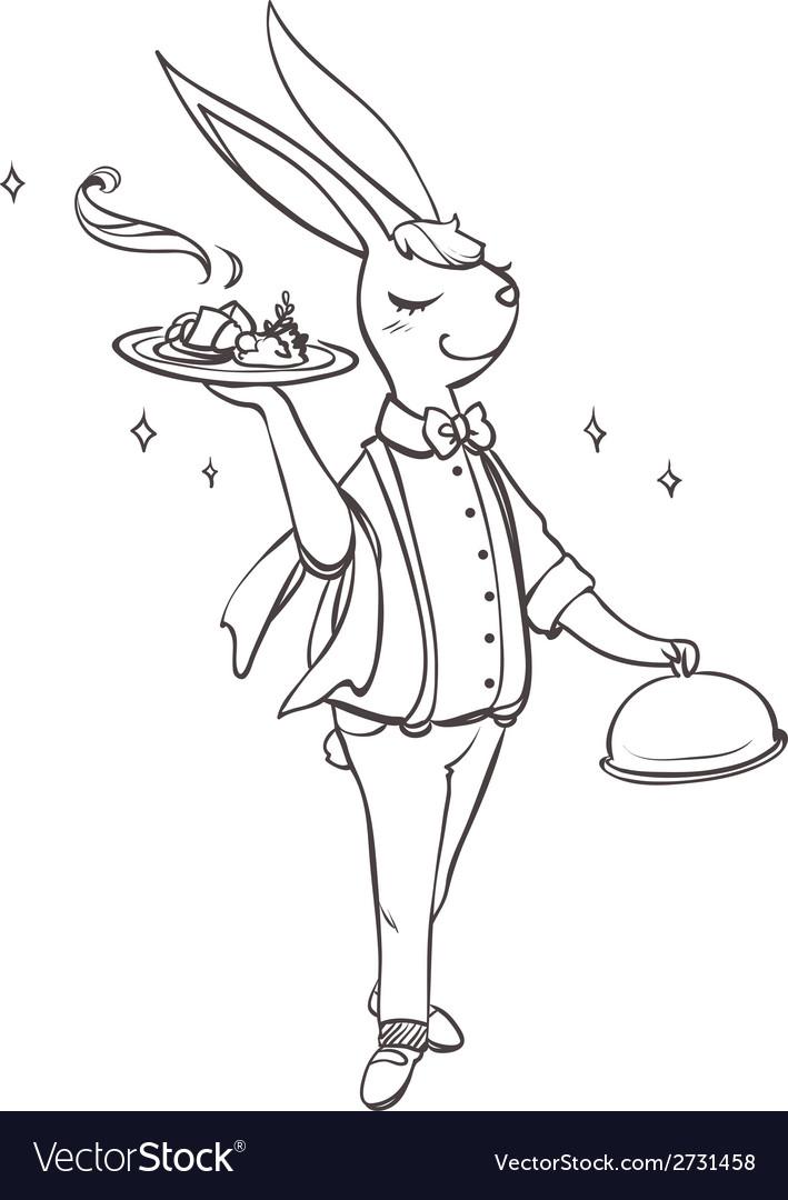 Bunny waiter vector | Price: 1 Credit (USD $1)