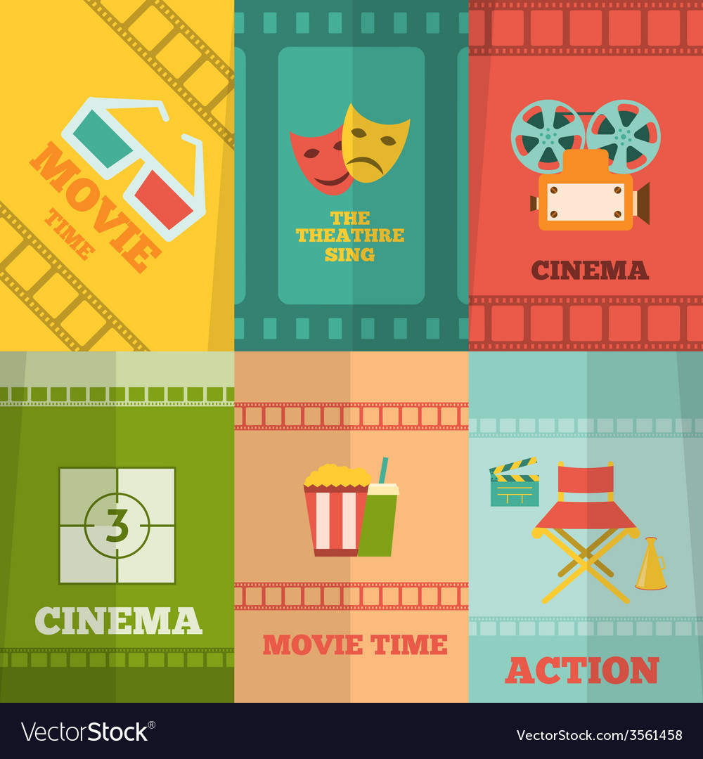 Cinema icons composition poster print vector | Price: 1 Credit (USD $1)