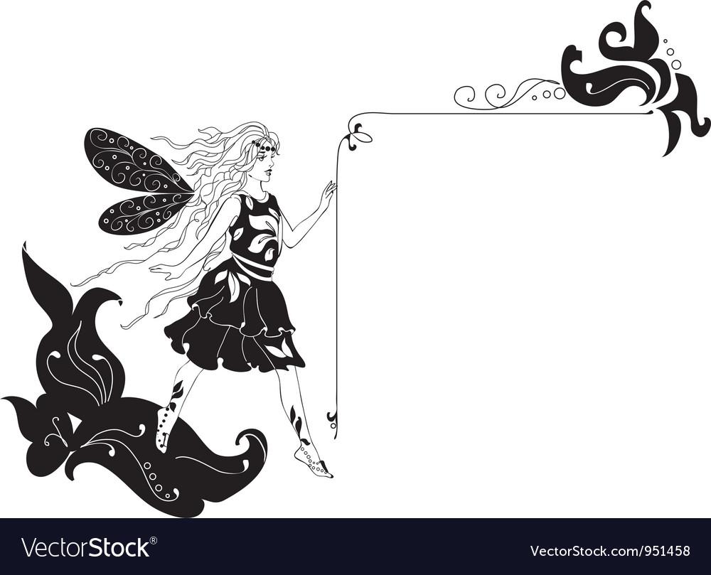 Fairy silhouette corner vector | Price: 1 Credit (USD $1)