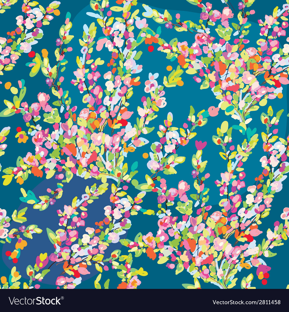 Floral seamless pattern with hand drawn blossom vector | Price: 1 Credit (USD $1)