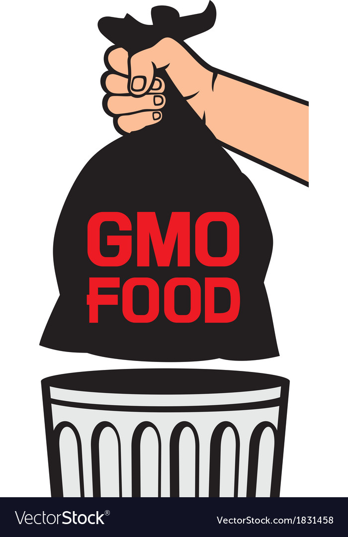 Hand holding black plastic trash bag with gmo food vector | Price: 1 Credit (USD $1)
