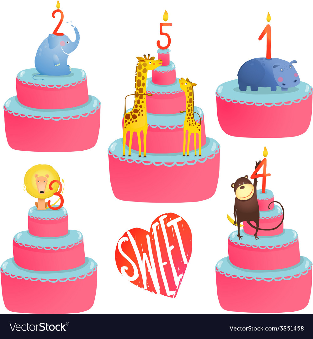 Happy birthday cakes collection with animals and vector | Price: 1 Credit (USD $1)