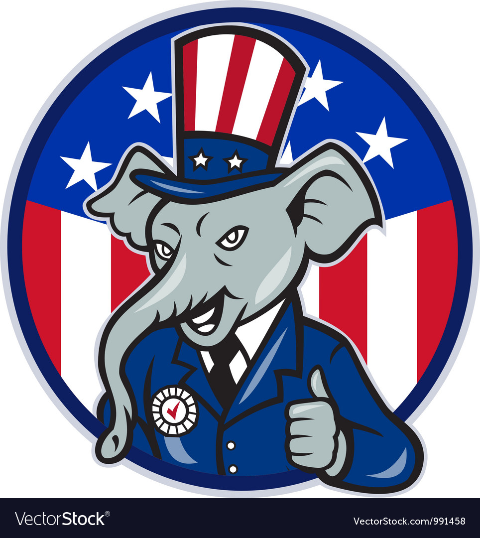 Republican elephant mascot thumbs up usa flag vector | Price: 3 Credit (USD $3)