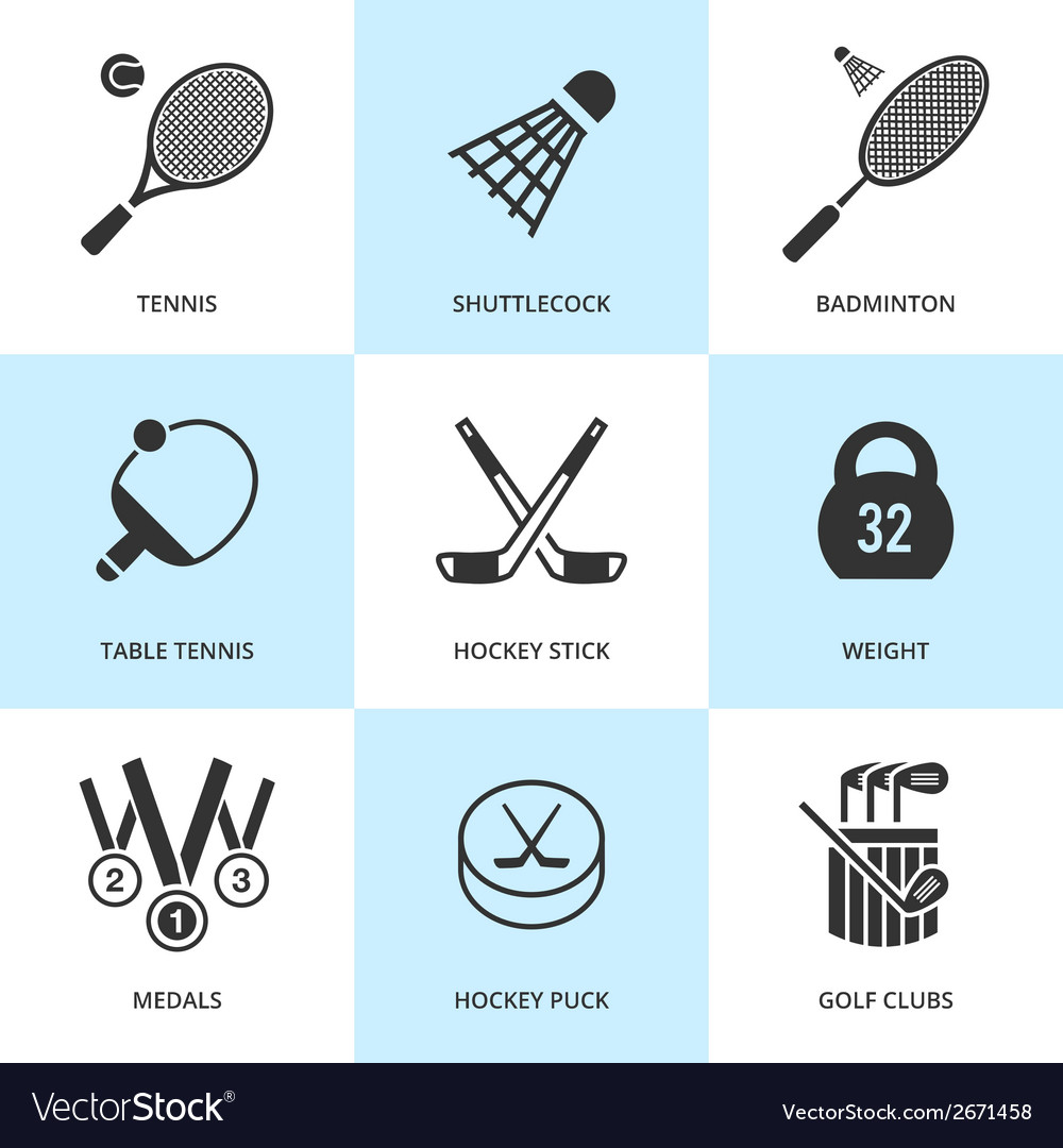 Set of black sports icons vector | Price: 1 Credit (USD $1)