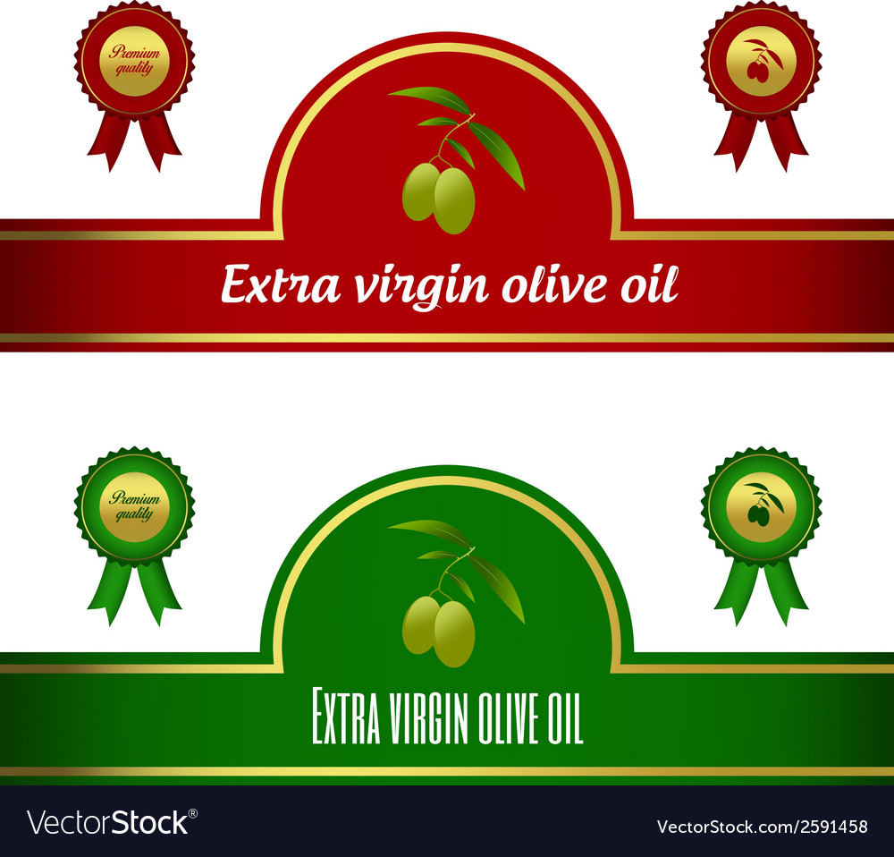 Set of extra virgin olive oil labels - red green vector | Price: 1 Credit (USD $1)