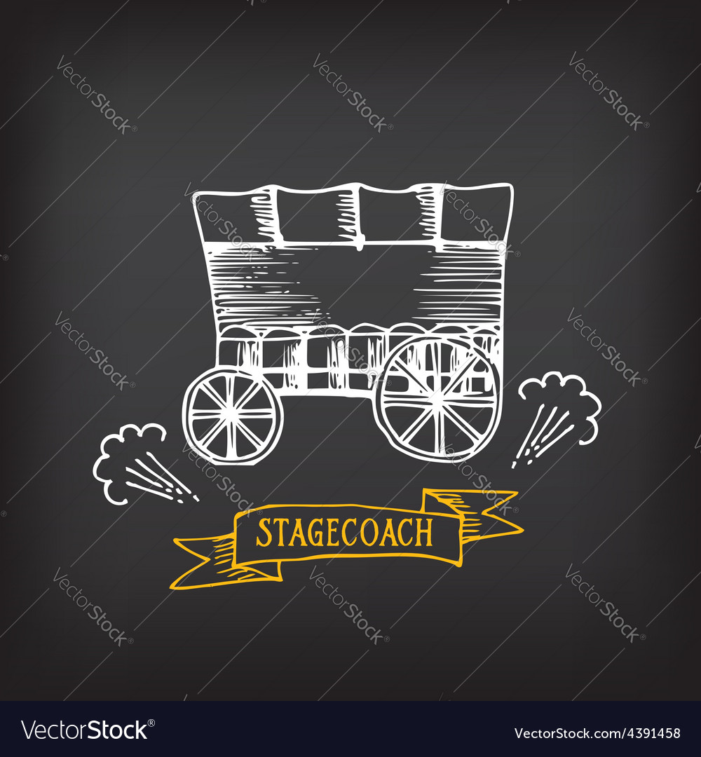 Stagecoach covered wagon sketch design vector