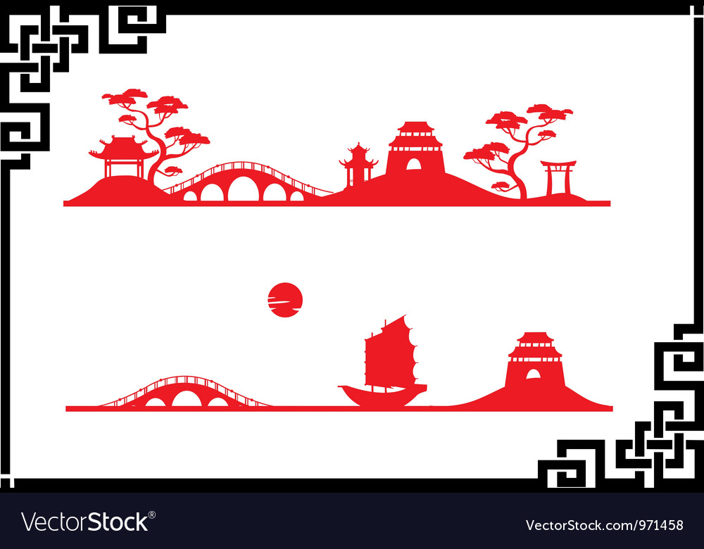 Two abstract asian landscapes vector | Price: 1 Credit (USD $1)