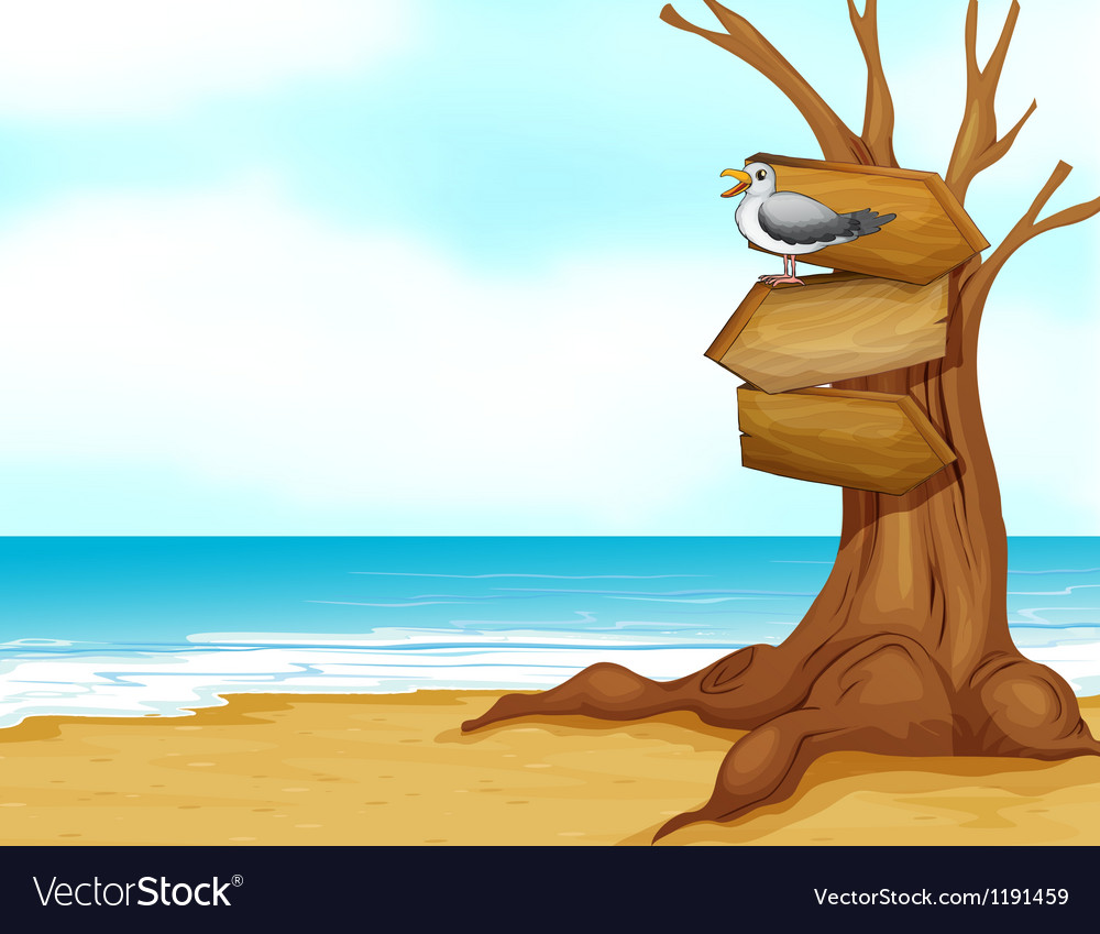 A beach with wooden signboard vector | Price: 1 Credit (USD $1)