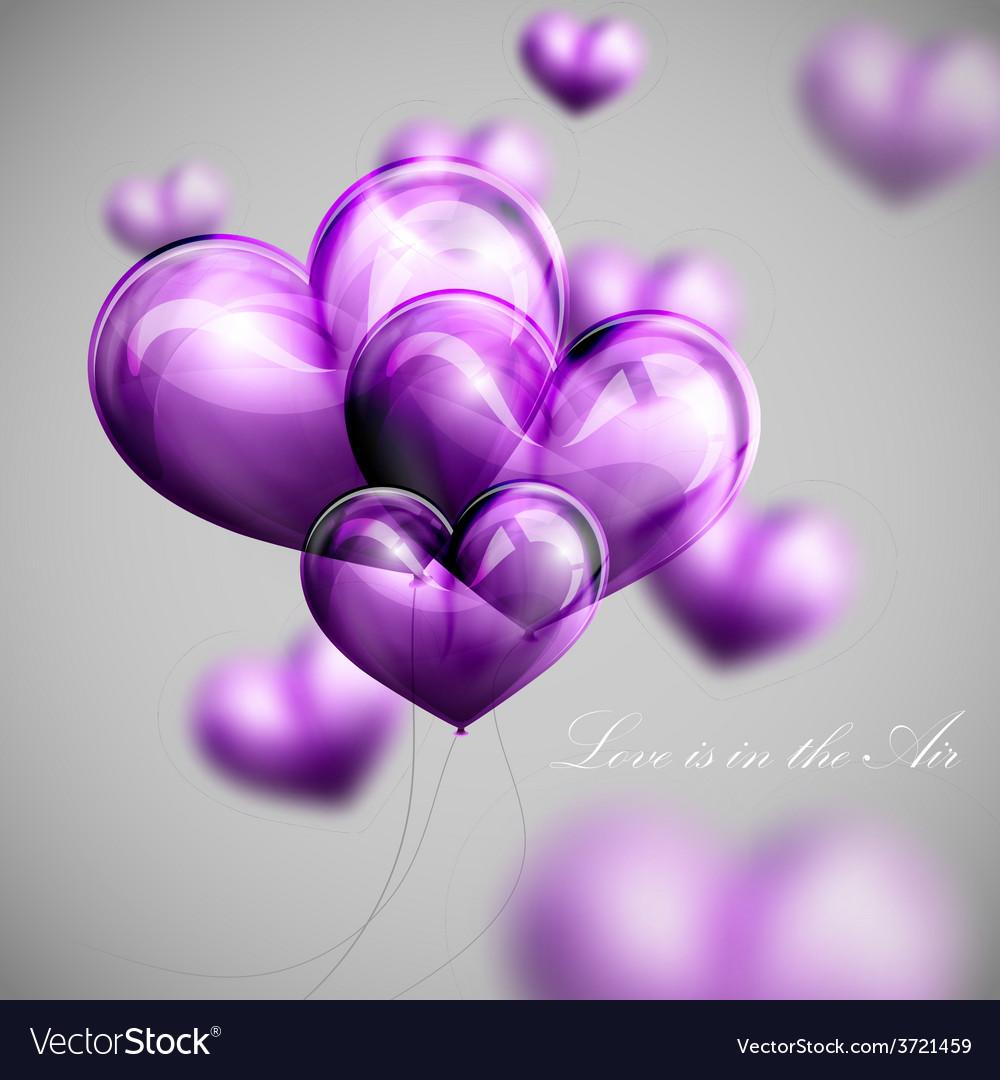 Bunch of violet balloon hearts vector | Price: 1 Credit (USD $1)