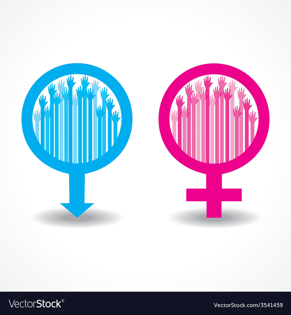 Colorful raised hand in the male and female symbol vector | Price: 1 Credit (USD $1)