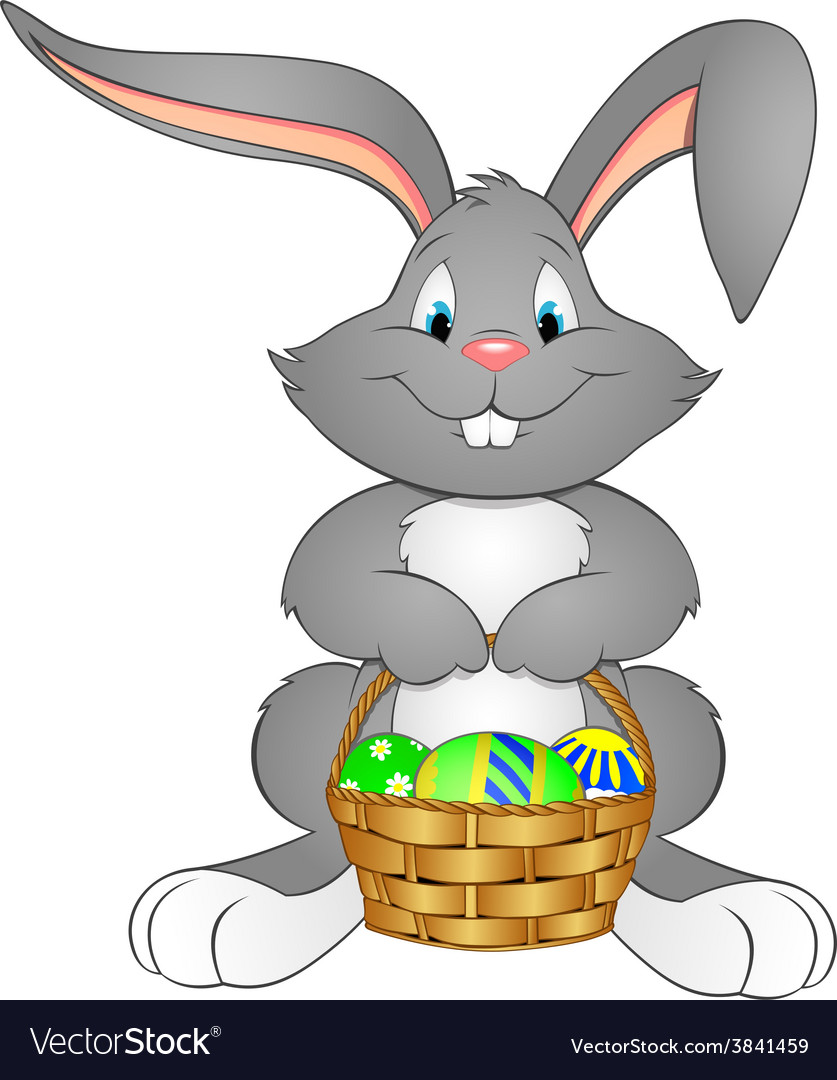 Easter bunny with basket vector | Price: 1 Credit (USD $1)