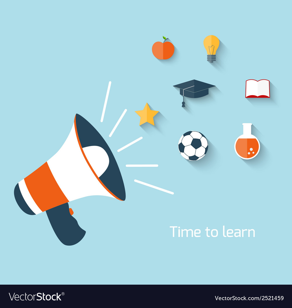 Education concept with megaphone vector | Price: 1 Credit (USD $1)