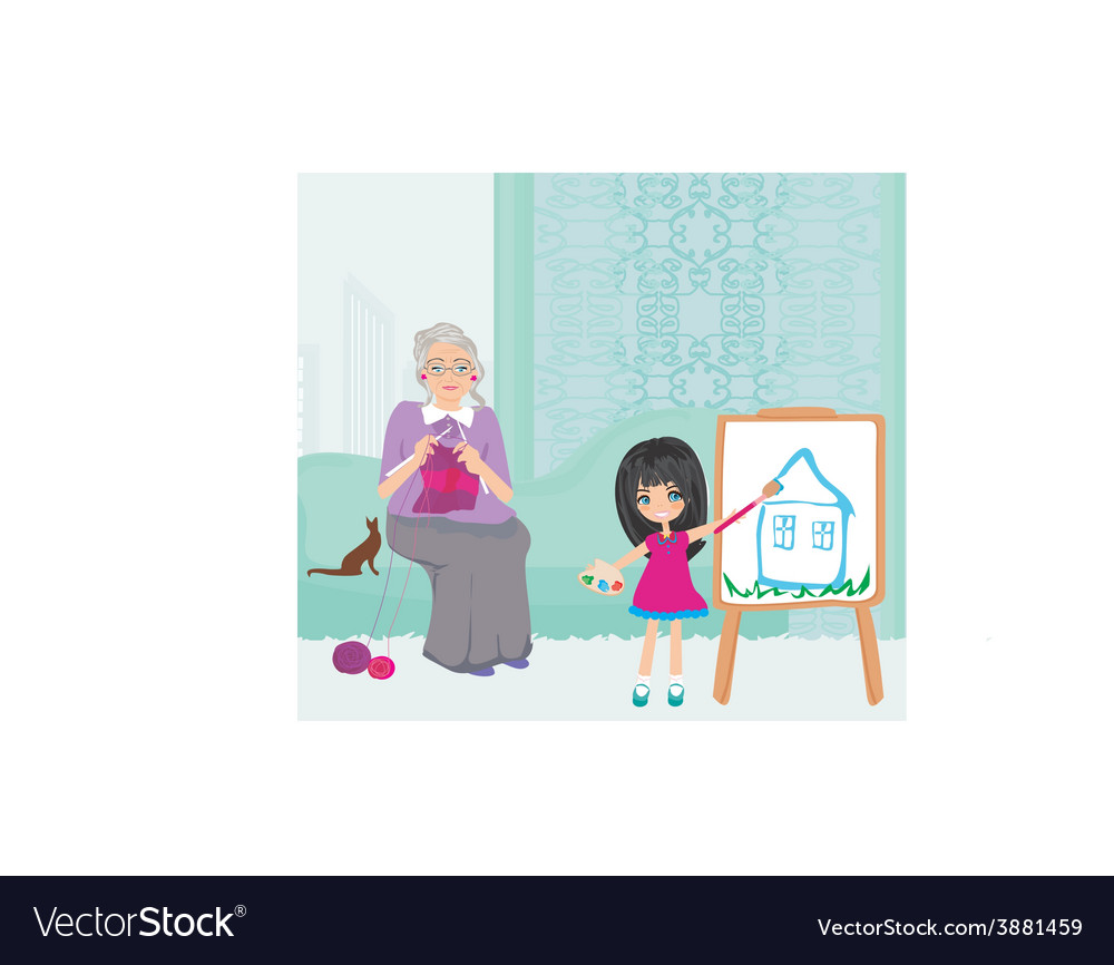 Grandmother and granddaughter relaxing at home vector | Price: 1 Credit (USD $1)