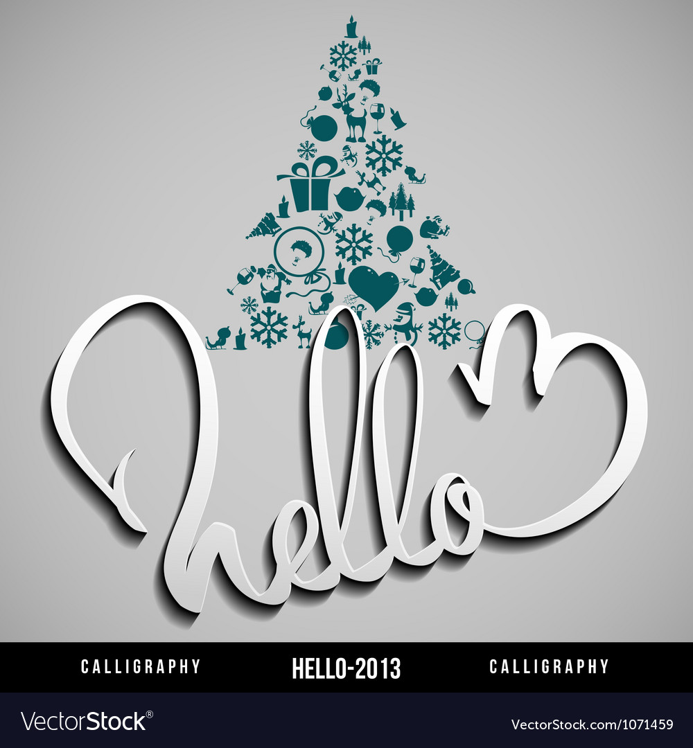 Hello 2013 hand lettering happy new year vector | Price: 1 Credit (USD $1)