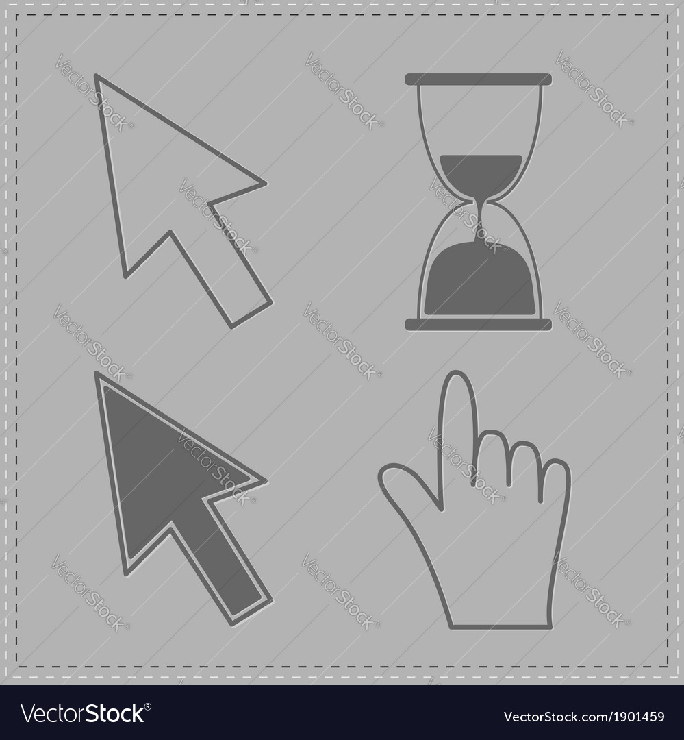 Mouse hand arrows and hourglass grey background vector | Price: 1 Credit (USD $1)