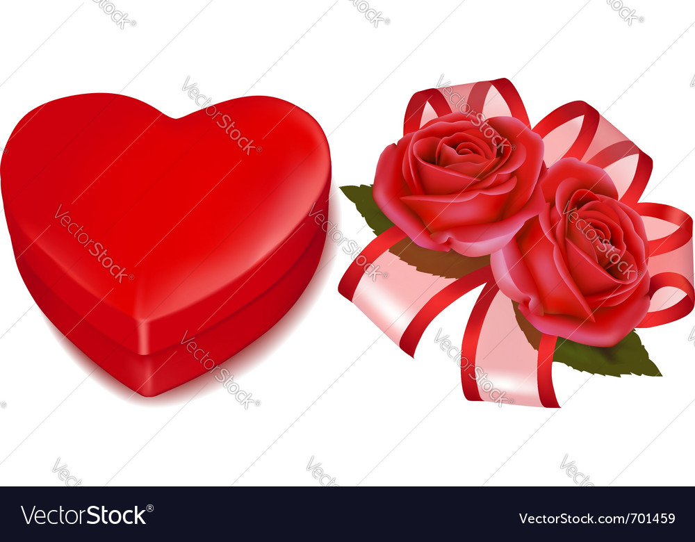 Red roses and gift box vector | Price: 1 Credit (USD $1)