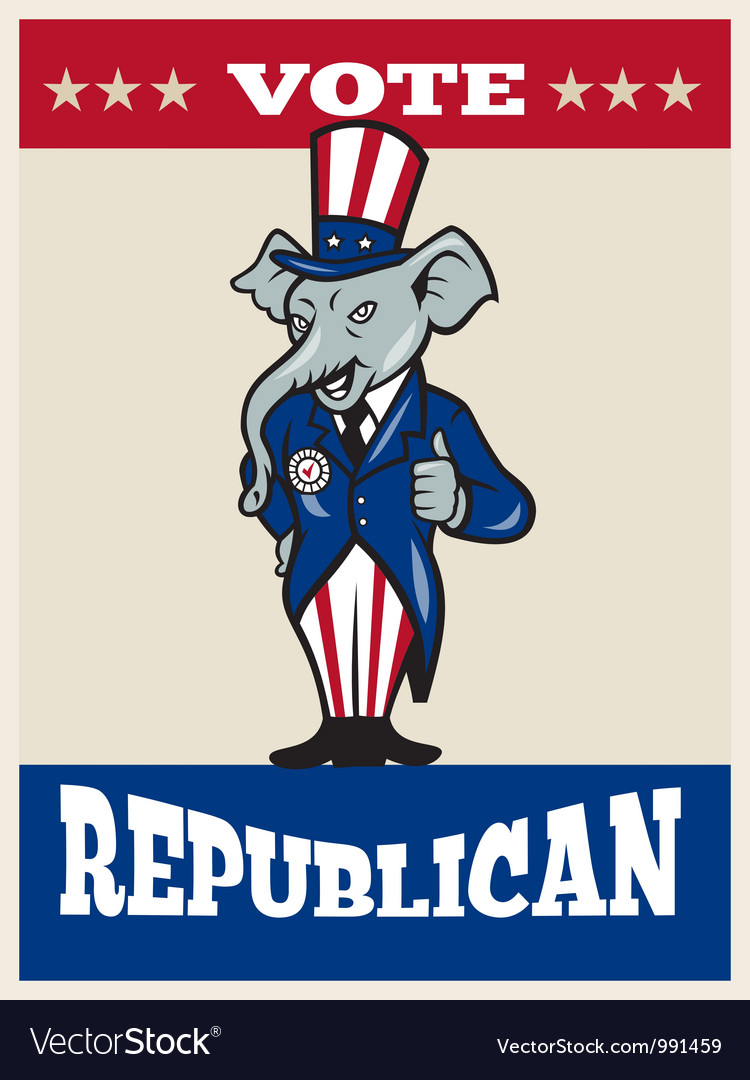 Republican elephant mascot thumbs up usa flag vector | Price: 1 Credit (USD $1)