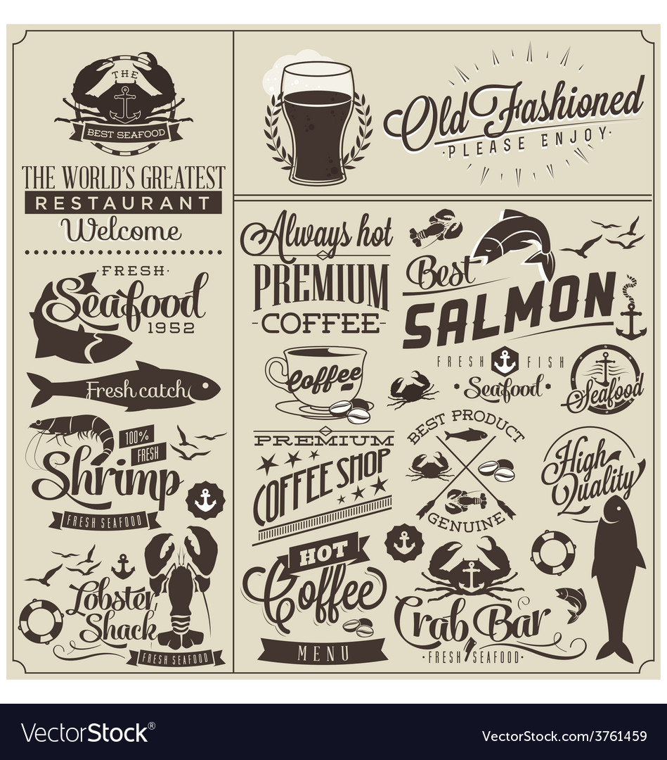 Restaurant design elements vector | Price: 1 Credit (USD $1)