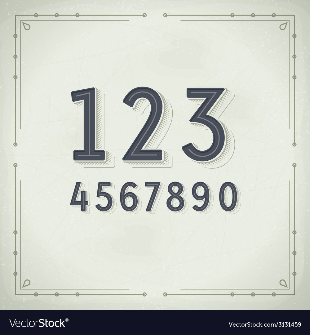 Retro digits vintage typography vector | Price: 1 Credit (USD $1)