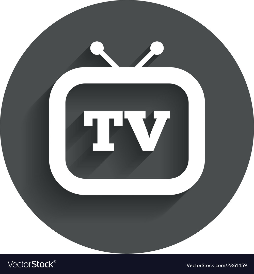 Retro tv sign icon television set symbol vector | Price: 1 Credit (USD $1)