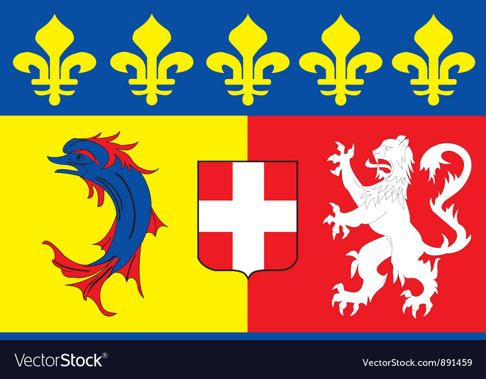 Rhone alpes region flag vector | Price: 1 Credit (USD $1)