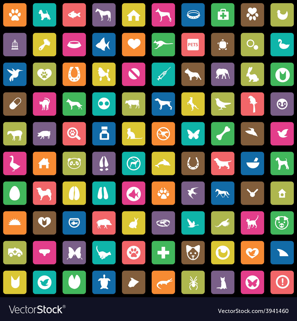 100 animals pets icons set vector | Price: 1 Credit (USD $1)