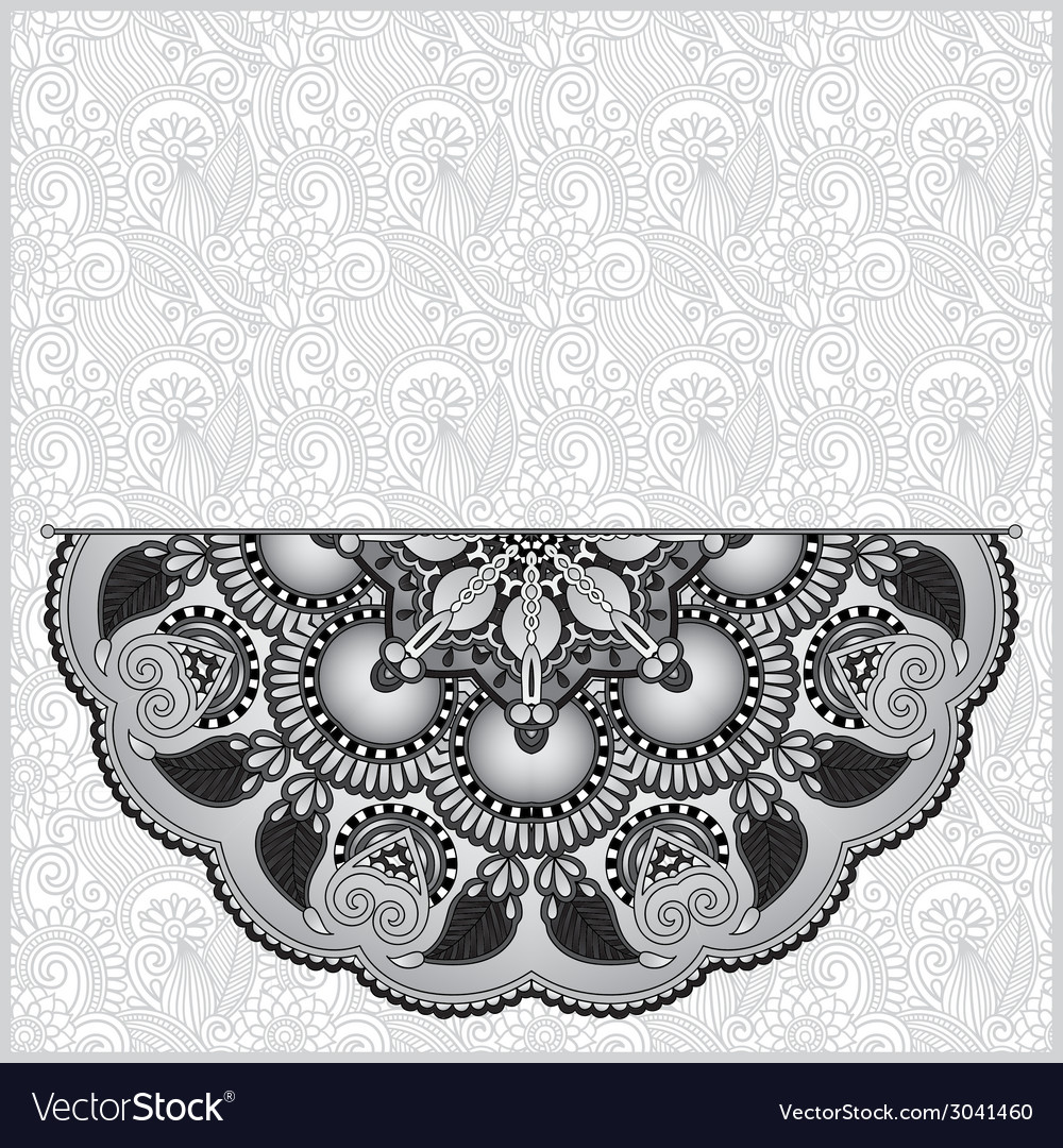 Circle grey lace ornament round ornamental vector | Price: 1 Credit (USD $1)