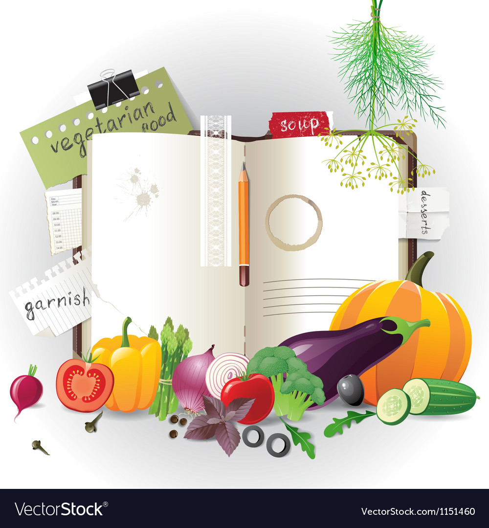 Cookbook with vegetables vector | Price: 1 Credit (USD $1)