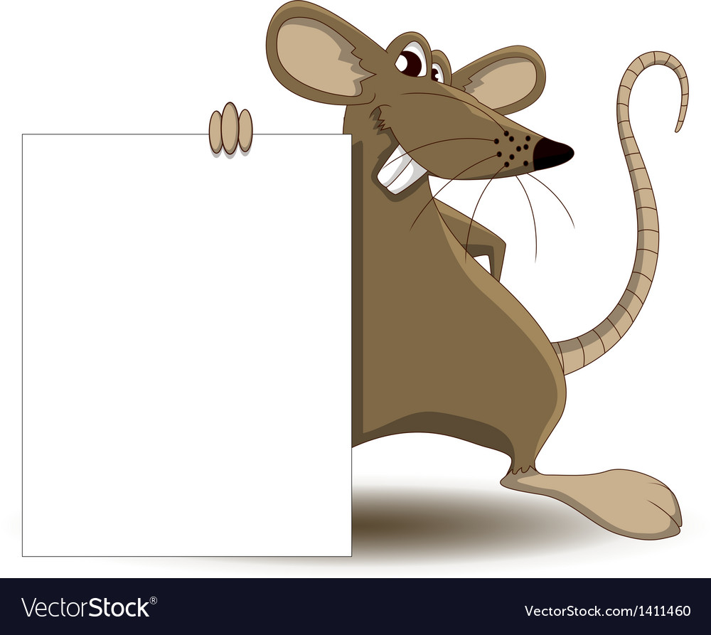 Cute mouse cartoon with blank sign vector | Price: 1 Credit (USD $1)