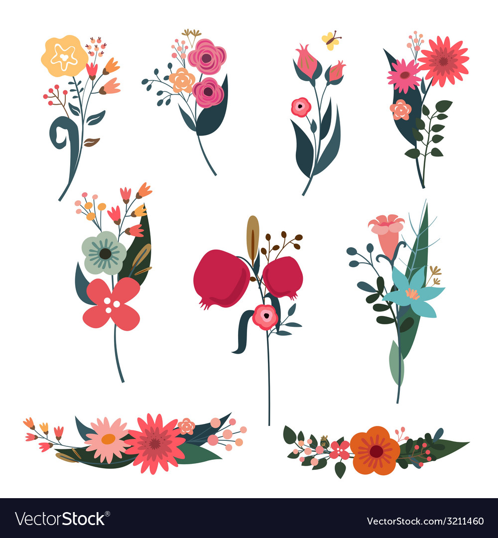 Elegant bouquets set vector | Price: 1 Credit (USD $1)