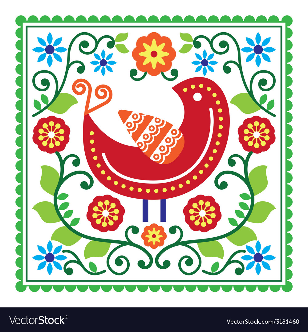 Folk art pattern with bird and flowers vector | Price: 1 Credit (USD $1)