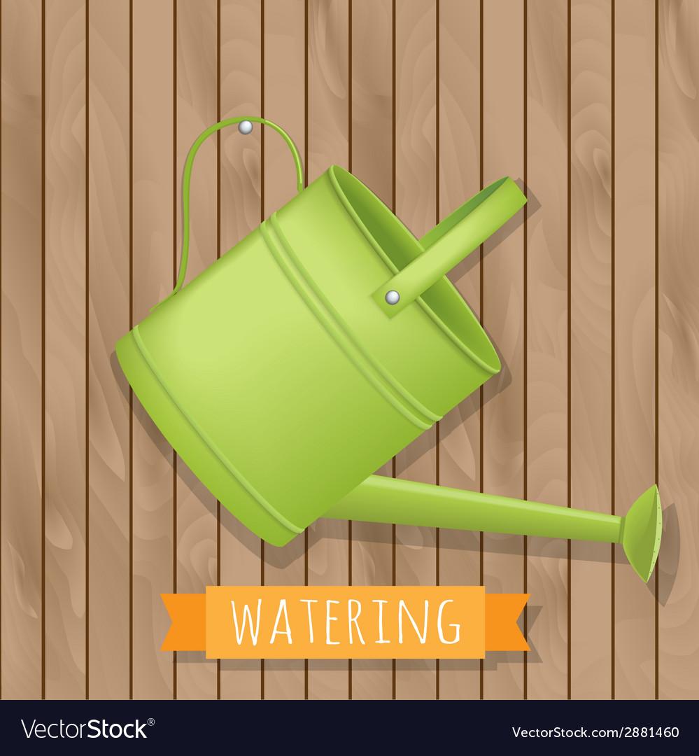 Garden watering on wooden background vector | Price: 1 Credit (USD $1)