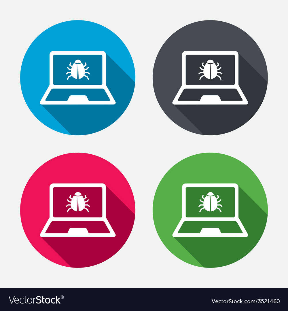 Laptop virus sign icon notebook software bug vector | Price: 1 Credit (USD $1)
