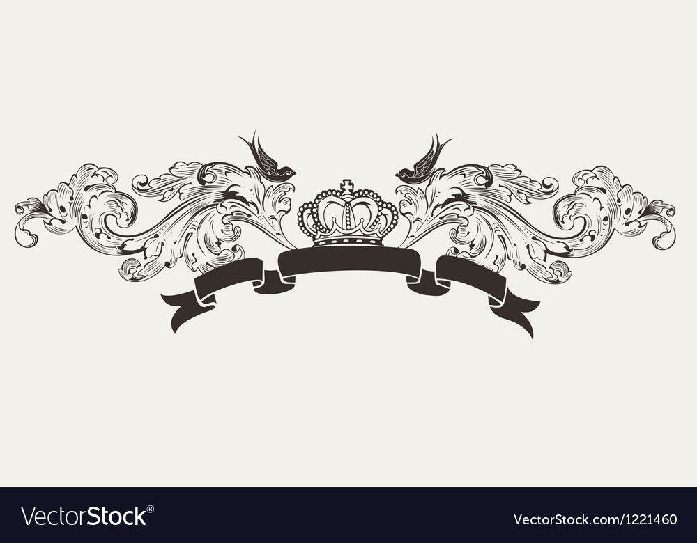 Royal high ornate text banner vector | Price: 1 Credit (USD $1)